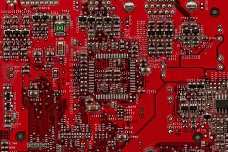 Close up photo of a red printed circuit