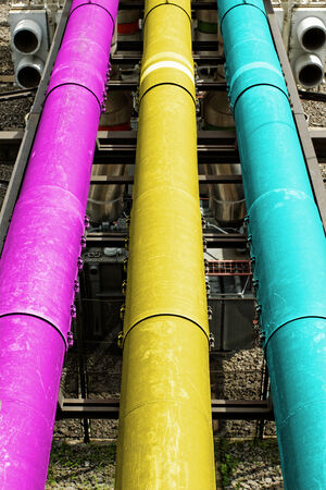 industrial pipes in a electricity power plant (CMY colors)