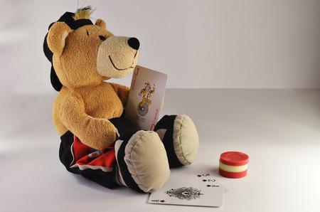 card player: Teddy bear the card player Stock Photo
