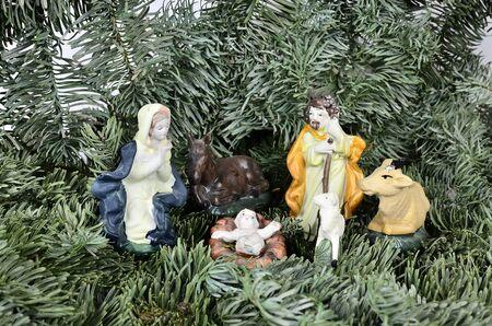jesus mary joseph: Jesus as a child with Mary and Joseph and animals