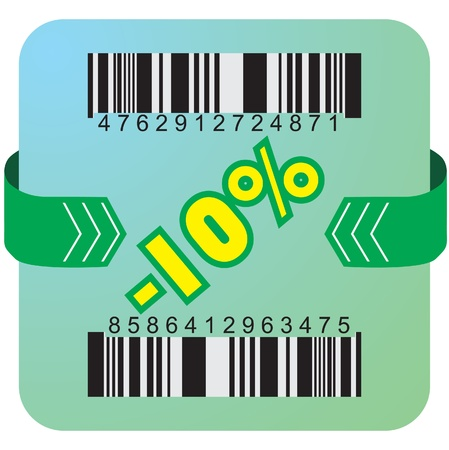 Illustration of 10 % discount with bar codes, and arrow  Vector