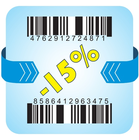 turns of the year: Illustration of 15 % discount with bar codes, and arrow