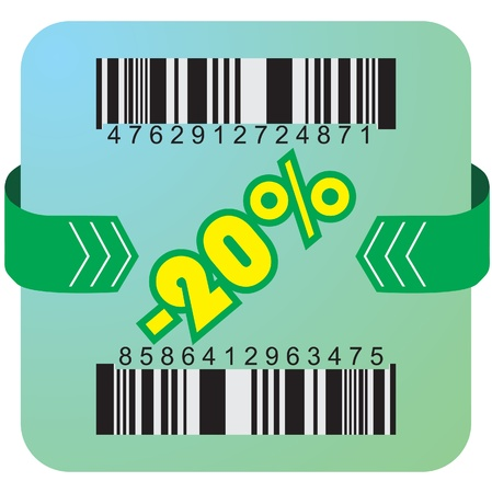 Illustration of 20 % discount with bar codes, and arrow  Vector