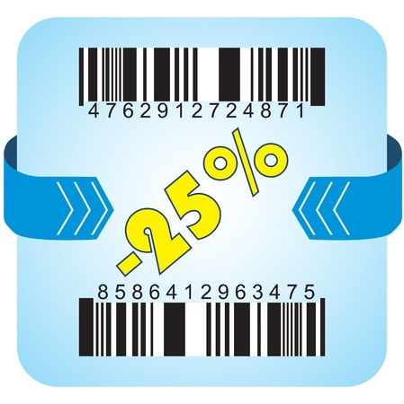 Illustration of 25 % discount with bar codes, and arrow