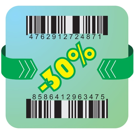 Illustration of 30 % discount with bar codes, and arrow  Vector