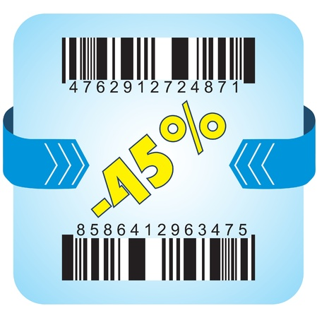 Illustration of 45 % discount with bar codes, and arrow  Vector