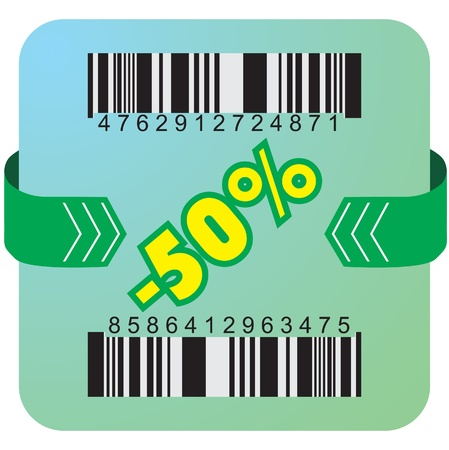 Illustration of 50 % discount with bar codes, and arrow  Vector