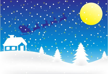 Christmas background with flying Santa