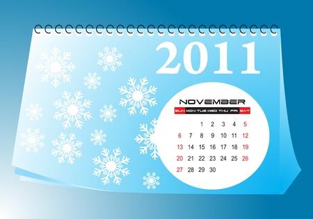 November desk calendar Vector