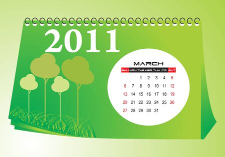 Desk calendar March 2011 Vector