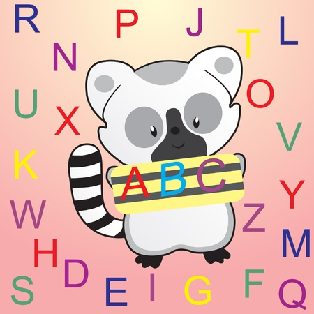 all caps: Alphabet letters with cartoon raccoon