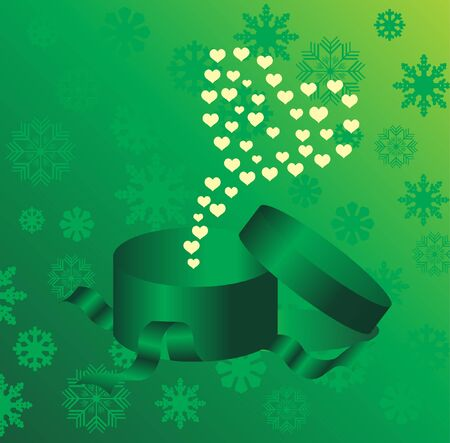 Open explore gift with hearts  Vector