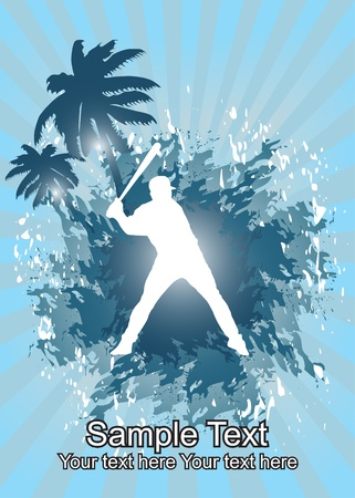 Baseball player in tropical background  Illustration
