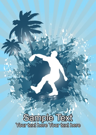 Baseball player in tropical background  Vector
