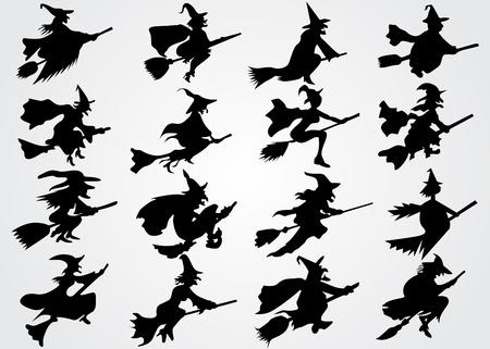 czarownica: Czarownicy sylwetka Ilustracja