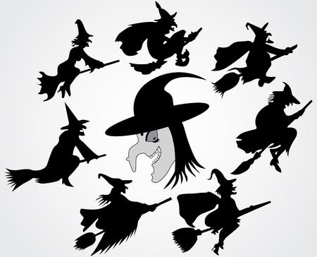 escoba: Silueta de la bruja
