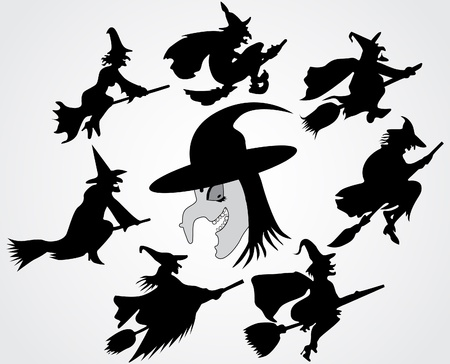 witch on broom: Witchs silhouette  Illustration