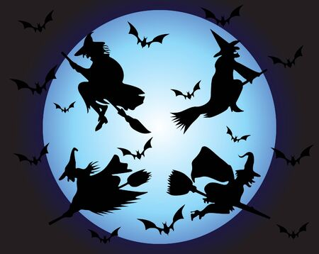 wizardry: Witchs silhouette  Illustration