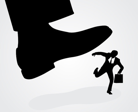 Businessmans foot stepping on tiny businessman  Illustration