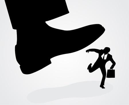 Businessmans foot stepping on tiny businessman  Illustration