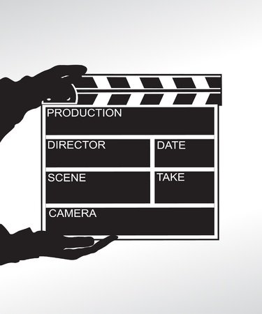 Hand holding a clapper board Illustration