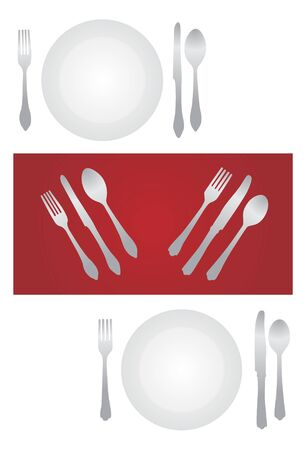 formal place setting: fork plate and knife isolated on white background  Illustration