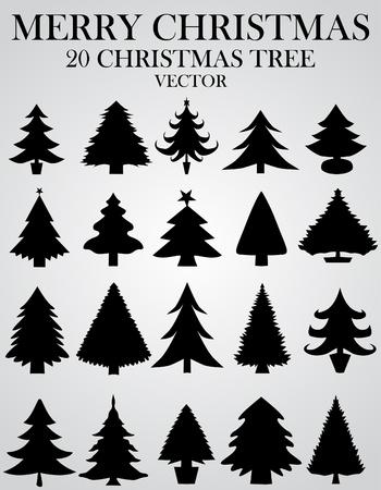 silhouette arbre hiver: Jeu de sapins de No�l Illustration