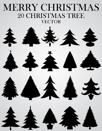 the christmas cards: Set of christmas trees Illustration