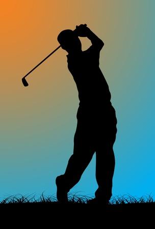 golf swing: Golfer, vector illustration