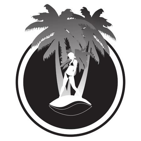 Palm trees with women in bikini Vector