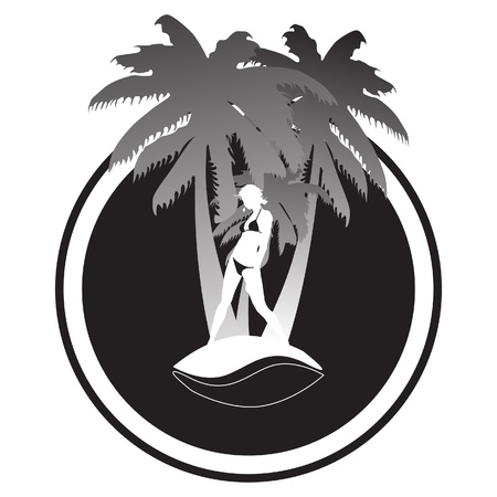sunglasses recreation: Palm trees with women in bikini Illustration