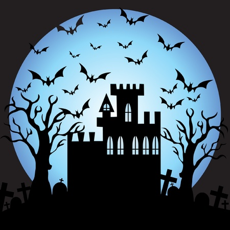 castle door: Halloween night  Illustration