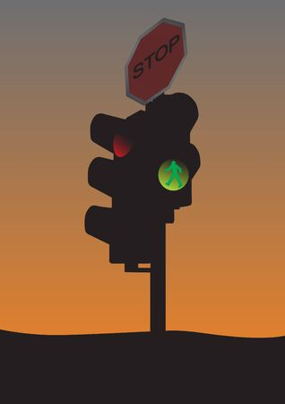 Traffic light with stop sign in sunset  Vector