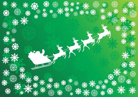 Vector Christmas background with white snowflakes and Santa Illustration