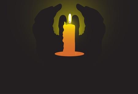 sacramentale: candela brucia le ombre e le mani
