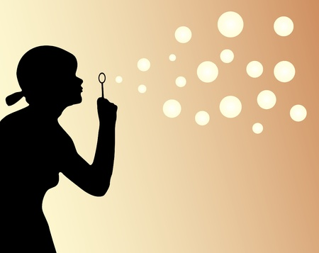 Girl and bubbles  Vector