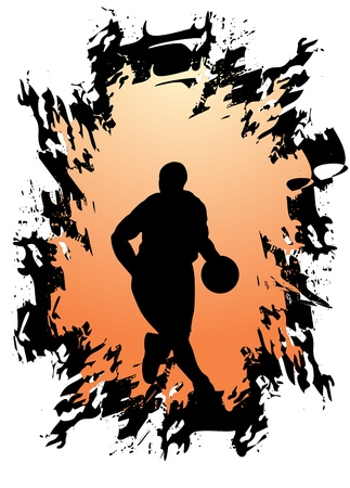dribbling: Basketball player  Illustration
