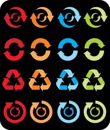 Recycle signs set isolated in black background  Stock Vector - 11332463