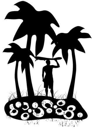 Surfer with palm trees black and white
