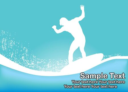Abstract background with surfer Vector