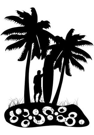 Surfer with palm trees Stock Vector - 10891972