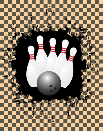 Vector image of a bowling ball striking pins