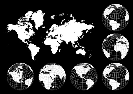 Earth globes and world map, vector