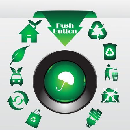icono contaminacion: Reciclar bot�n, ilustraci�n vectorial