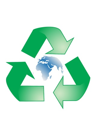 wastes: Recycle sign with blue earth globe, vector