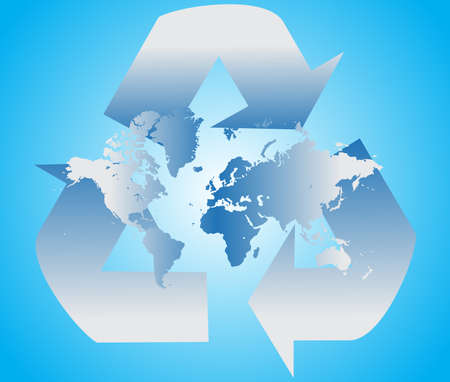 wastes: Recycle sign with blue world map, vector