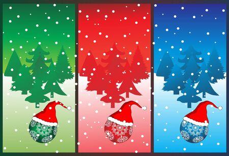 Three christmas banner, vector illustration  Illustration