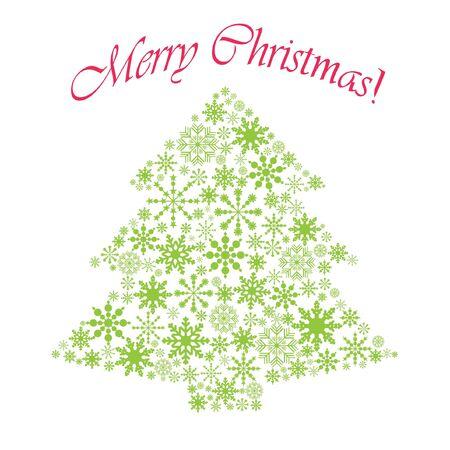 merrily: Christmas tree vector illustration  Illustration
