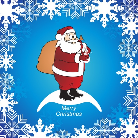 santa over blue background with snowflakes vector  Vector