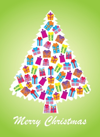 White christmas tree, green background  Vector